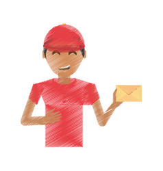 drawing delivery man package service vector image