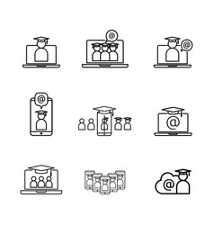 e-learning line icon online internet education vector image