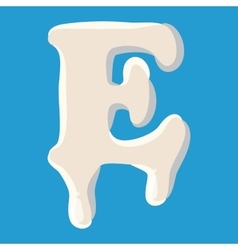 E letter isolated on baby blue background vector