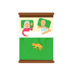Elderly family couple sleeping on the bed with vector