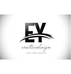 Ey e y letter logo design with swoosh and black vector