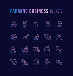 farming business linear icons vector image