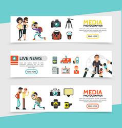 flat mass media horizontal banners vector image
