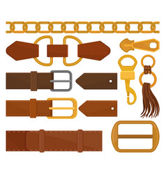 Flat set of different belt elements trendy vector