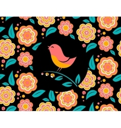 Flower invitation card with bird singing and vector image