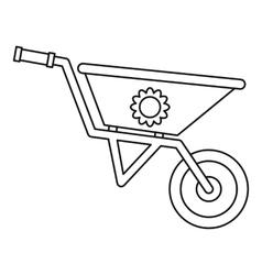 Gardening wheelbarrow icon outline style vector image