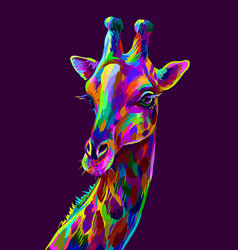 giraffe abstract colorful artistic portrait vector image