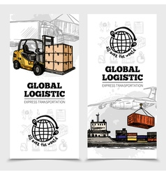 Global Logistics Vertical Banners vector image