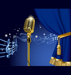 Gold retro microphone on starry space vector