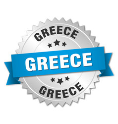Greece round silver badge with blue ribbon vector