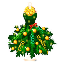 green dress in style of christmas and new year vector image