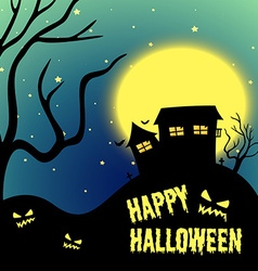 Halloween night with haunted house vector image