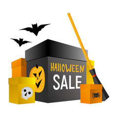 Halloween shopping present boxes with pumpkin vector