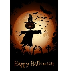 Halloween Zombie Party Poster Holiday Card with vector image