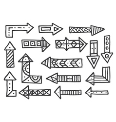 hand drawn arrows set isolated on white vector image
