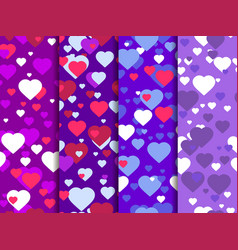 hearts set of seamless pattern festive background vector image