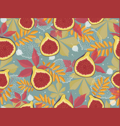 Horizontal seamless pattern with figs and autumn vector