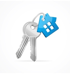 House keys with Blue Key chain vector