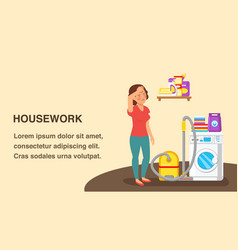 Housework web banner flat template with text space vector