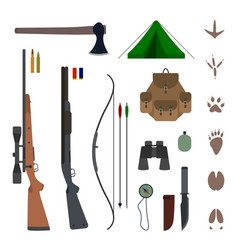hunting equipment kit flat vector image