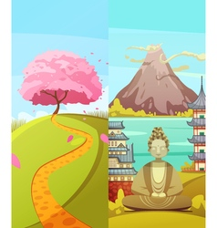 Japan 2 Travel Vertical Banners Set vector