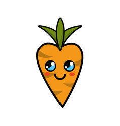 Kawaii thinking carrot vegetable icon vector
