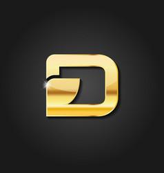 letter d shiny golden metallic logo vector image