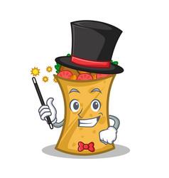 Magician kebab wrap character cartoon vector