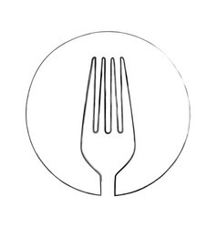 monochrome blurred contour of sketch of fork in vector image