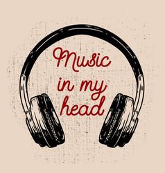 music in my head headphones on grunge background vector image