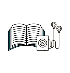Music player and book icon vector