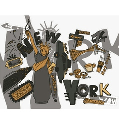 New york doodles vector