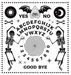 Ouija board with skeletons occultism set vector