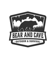 Outdoor wild cave bear logo animal wildlife vector