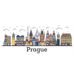 Outline prague czech republic city skyline vector