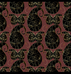 paisleys seamless pattern brown floral vector image