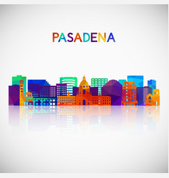 pasadena skyline silhouette in colorful geometric vector image