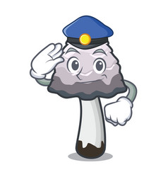 Police shaggy mane mushroom character cartoon vector