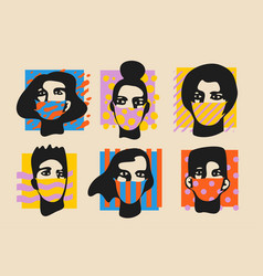 Pop style faces in masks set vector