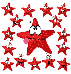 Red sea star cartoon with many expressions vector image
