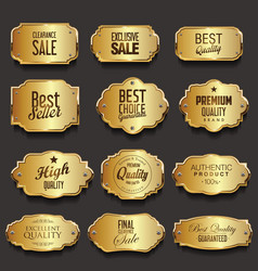 Retro vintage golden frames sale collection vector