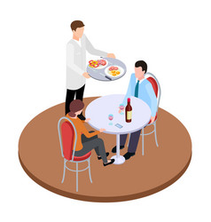 romantic dating in restaurant isometric vector image