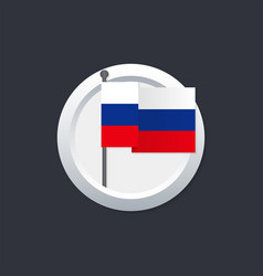 russia flag which silver button on black vector image