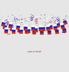 russia garland flag with confetti vector image