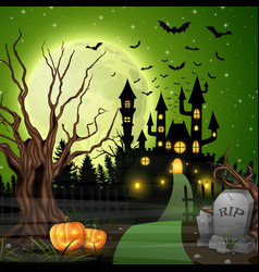 scary castle with pumpkins and bats in woods vector image