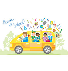 school kids riding a schoolbus vector image