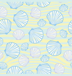 seamless pattern with hand drawn scallop shells vector image