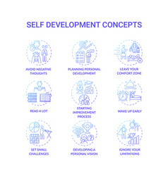 Self development blue gradient concept icons set vector