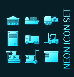 set glowing neon style delivery icons vector image