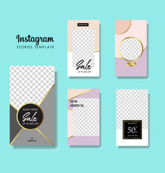 set instagram stories sale banner background vector image